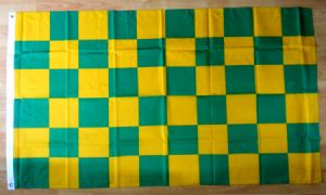 Green and Yellow Checkered Large Flag - 5' x 3'.